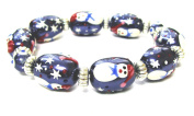 Fiona Hand Painted Christmas Glass Beads Stretch Bracelet