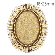 10pcs- Antique Gold Plated Unique Brooch Findings with 18x25mm Oval Blank Bezel-Safety Pin Fastening