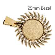 10pcs Antique Gold Plated Hair Pin Base with 25mm Leaf Blank Round Bezel