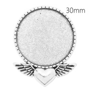 10pcs/lot Antique Silver Plated Heart Brooch Base with 30mm Round Blank Bezel-Safety Pin Fastening