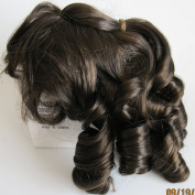 """NARCO Craft DOLL HAIR WIG Style 393-318-01 DOUBLE LAYER CURLS Fits SIZE 18cm - 20cm Colour DARK BROWN Long RINGLETS at Back, Ringlet """"Pony Tail"""" at Crown & Front BANGS"""