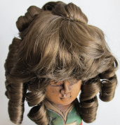 """NARCO Craft DOLL HAIR WIG Style 393-439-00 DOUBLE LAYER CURLS Fits SIZE 20cm - 23cm Colour (LT.) LIGHT BROWN Long RINGLETS at Back, Ringlet """"Pony Tail"""" at Crown & Front BANGS"""