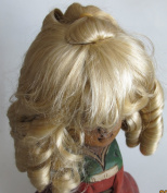 """NARCO Craft DOLL HAIR WIG Style 393-319-00 DOUBLE LAYER CURLS Fits SIZE 25cm - 28cm Colour BLONDE Long RINGLETS at Back, Ringlet """"Pony Tail"""" at Crown & Front BANGS"""