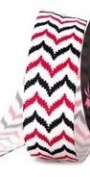 2.2cm Grosgrain Multi Colour Chevron Stripe Ribbon - Hot Pink/black - 2yards