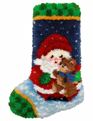 M.C.G Textiles #37784 Latch Hook Kit, 30cm by 43cm , Roly Poly Santa Christmas Stocking