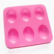 6-cavity Oval Basic Soap Bar Silicone Mould Handsize for Homemade Craft
