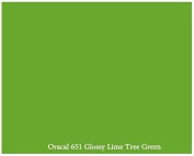 30cm x 3m Roll of Glossy Oracal 651 Lime Tree Green Repositionable Adhesive-Backed Vinyl for Craft Cutters, Punches and Vinyl Sign Cutters by VinylXSticker