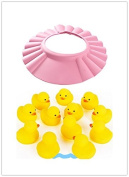 Adjustable Pink Baby Kid Safe Shampoo Protect Hat with One Dozen Duck