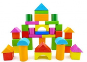 Brightly Coloured Wooden Building Blocks, Set of 40