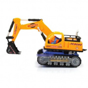 DDU(TM) 1Pcs Orange- Wonderful Flashing Wheel Musical Excavator Car Toy Builder Christmas Gift for Kid Children