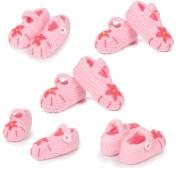 Dealzip Inc® Pink Five-leaf Flower Unisex Newborn Baby Crochet Knitted Crib Soft Handmade Shoes Buckle Infant Pre Walker Toddler Socks