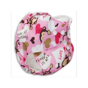 Happy Flute Pink Monkey Printed Reusable One Size Pocket Nappies