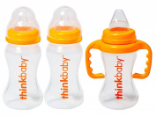 Thinkbaby 2 Pack BPA Free Vented Baby Bottles with Sippy Cup