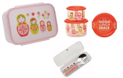 Sugarbooger Divided Lunch Box, (2) Small Storage Containers, and Silverware- Matryoshka Doll