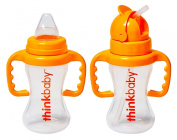 Thinkbaby BPA Free No Spill Sippy Cup & Thinkster Straw Bottle, Orange