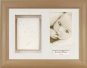 Anika-Baby BabyRice Baby Handprint Footprint Kit Soft White Clay Dough Beech Effect Box Photo Display Frame