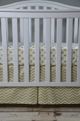 Lavender Linens Two Piece Metallic Gold Chevron and Dot Crib Bedding Set