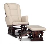 Status Italia Semi-Upholstered Glider and Nursing Stool Ottoman, Espresso/Beige