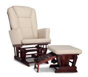 Status Italia Semi-Upholstered Glider and Nursing Stool Ottoman, Cherry/Beige