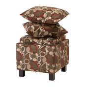 Madison Park Shelley Square Storage Ottoman With Pillows - Brown - 18W x 18D x 18H""