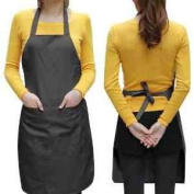 Click Down Unisex 2 Pocket Black Kitchen Apron Bib, One Size in Medium