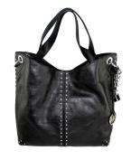 Michael Kors Astor Large Satchel Tote Handbag in Black Leather