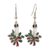 Surgical Steel Dangle Earrings Christmas Candles Silver Colour