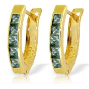 14K Solid Gold Huggie Earrings with Natural Green Sapphires