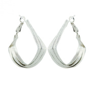 .925 Sterling Silver Jewellery 40mm Hammered Surface 3 Layer Open Wide Triangle Hoop Earring
