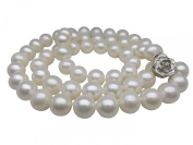 """Long 24"""" Genuine 8-8.5mm White Round Pearl Strand Necklace Rose Clasp Cultured Freshwater"""