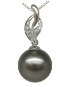 "14K Solid White Gold 0.32g Premium AAA+ 9.69mm High Lustre Black Tahitian Pearl Pendant Free 18"" Silver Chain"