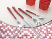 Amefa 24-Piece Eclat Red Flatware Set, Silver