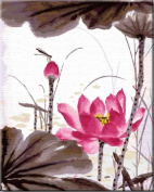 Diy oil painting, paint by number kit- Chinese Ink Style Lotus 16*50cm .