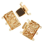 Gold Tone Filigree 3 Strand Large Box Clasp - 23mm