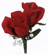 Red Silk Rose Double Boutonniere - Wedding Boutonniere Prom