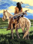 M.C.G. Textiles #37689 Latch Hook Kit, 70cm by 90cm , Curious Indian Warrior
