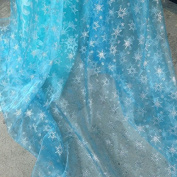 Light Blue Shiny Sheer Organza Silver Glitter Snowflake Fabric By the Yard