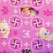 100% Cotton Print Disney Frozen Glitter Pink 110cm Fabric by the Yard