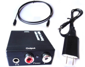 Digital to Analogue Audio Converter with Digital Optical Toslink and S/pdif Coaxial Inputs and Analogue RCA and AUX 3.5mm (Headphone) Outputs - 1.8m Heavy Duty Optical Toslink Cable with Gold Plated Connector Tips Included