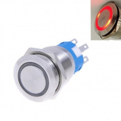 Kmise® 4pcs 19mm 12V * RED* Led Stainless Switch 5 Pins Momentary Push Button Waterproof