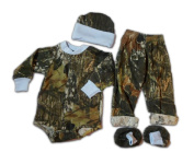 Mossy Oak Baby Set - Infant Boys LS Creeper Pants Hat Booties 4PC Gift Set