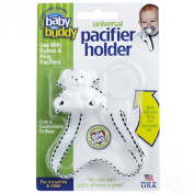 Baby Buddy Universal Pacifier Holder, White with Black Stitch