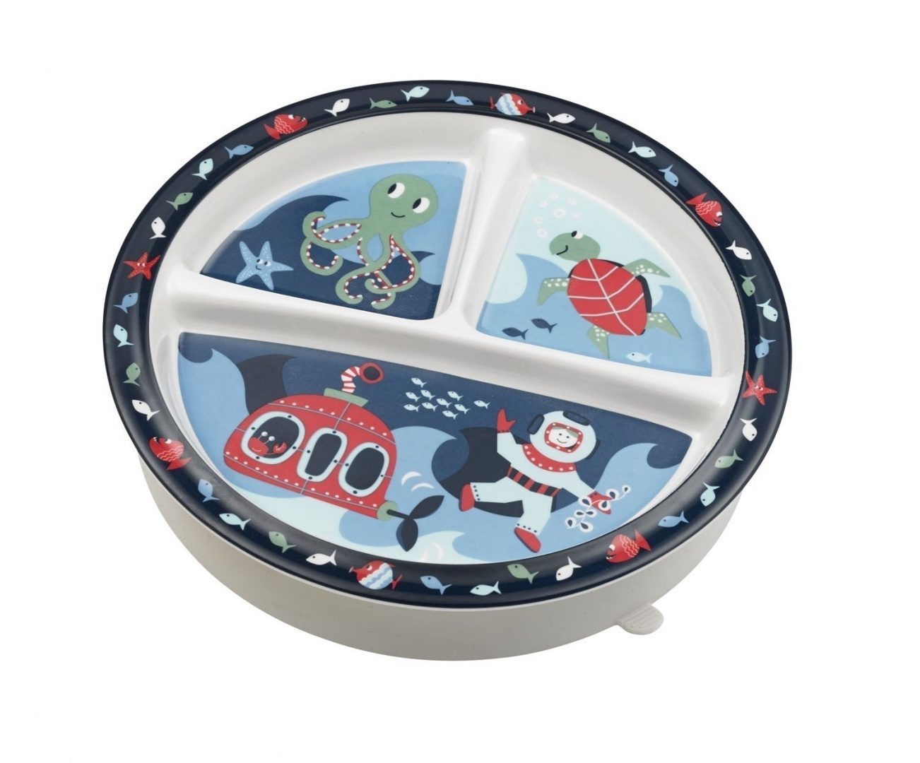 (Ocean) - SugarBooger Divided Suction Plate, Ocean. Free Shipping