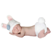 FuzzyGreen® Lovely White Rabbit Baby Knit Costume Photo Photography Clothes