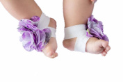 FuzzyGreen® Cute Baby Infant Barefoot Lavender Cloth & Lace Flowers Sock Sandal Shoes Infant Booties
