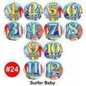 Baby Month Onesie Stickers surfing sport stickers, Baby Shower Gift Photo Shower Stickers, baby shower gift by OnesieStickers