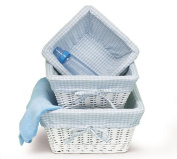 Set of 3 Baby Boy Nursery Storage Baskets - White Willow with Blue Cotton Gingham Fabric