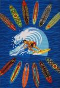 LA Rug ST-21 3958 Surf Time Surfer Dude Accent Rug, 100cm by 150cm , Multi Coloured