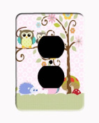 Owl Squirrel Treetop Friends Fancy Scrolled Tree Outlet Cover