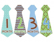 Tie Necktie #159 Month Stickers for Bodysuit Boy Blue Green Brown